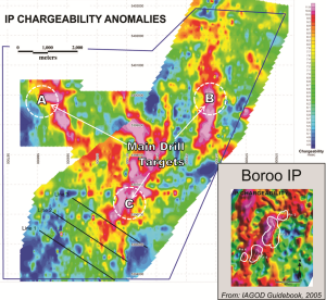 IP chargeability anomalies